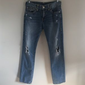 True Religion Ricky Relaxed Straight Jeans Sz 34
